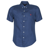 Clothing Men Short-sleeved shirts Polo Ralph Lauren CHEMISE CINTREE EN LIN COL BOUTONNE LOGO PONY PLAYER Blue