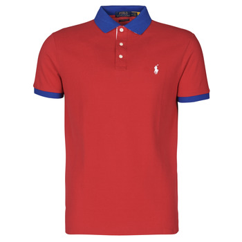 Clothing Men Short-sleeved polo shirts Polo Ralph Lauren POLO AJUSTE DROIT AVEC DETAILS DE COL ET DETAILS MANCHES EN COTO Red