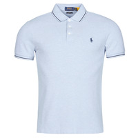 Clothing Men Short-sleeved polo shirts Polo Ralph Lauren POLO CINTRE SLIM FIT DETAILS DE COL ET DETAILS DE MANCHES EN COT Blue