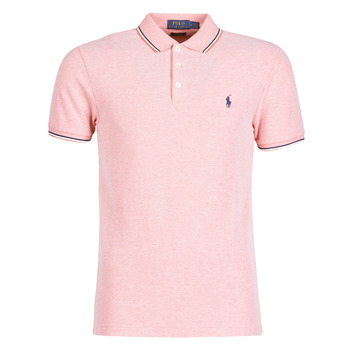 Clothing Men Short-sleeved polo shirts Polo Ralph Lauren POLO CINTRE SLIM FIT DETAILS DE COL ET DETAILS DE MANCHES EN COT Pink