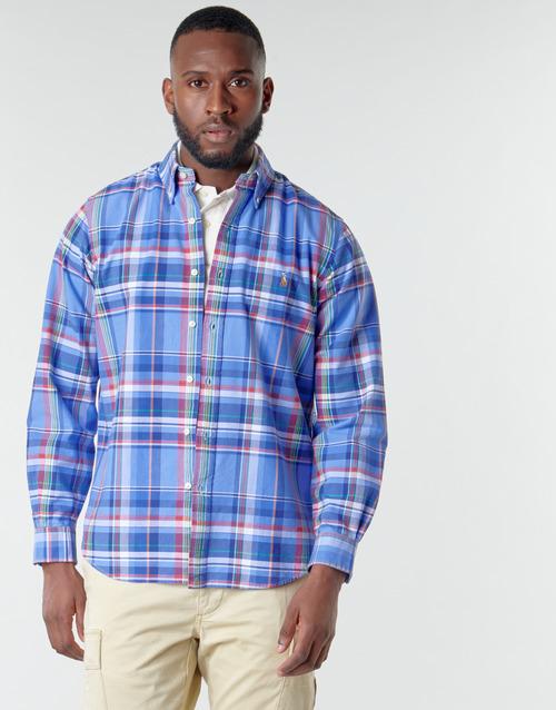 Clothing Men Long-sleeved shirts Polo Ralph Lauren CHEMISE AJUSTEE EN OXFORD COL BOUTONNE  LOGO PONY PLAYER MULTICO Multicolour