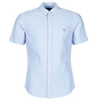 Clothing Men Short-sleeved shirts Polo Ralph Lauren CHEMISE CINTREE SLIM FIT EN OXFORD COL BOUTONNE LOGO PONY PLAYER Blue