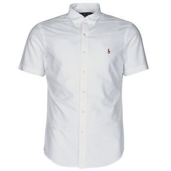 Clothing Men Short-sleeved shirts Polo Ralph Lauren CHEMISE CINTREE SLIM FIT EN OXFORD COL BOUTONNE LOGO PONY PLAYER White