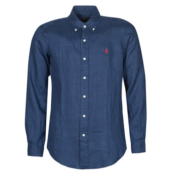 Clothing Men Long-sleeved shirts Polo Ralph Lauren CHEMISE AJUSTEE EN LIN COL BOUTONNE  LOGO PONY PLAYER Blue