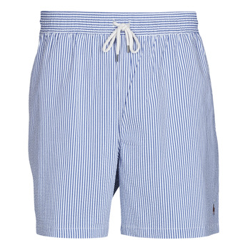 Clothing Men Trunks / Swim shorts Polo Ralph Lauren MAILLOT SHORT DE BAIN RAYE SEERSUCKER CORDON DE SERRAGE ET POCHE Blue