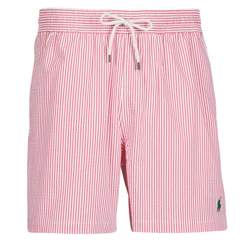 Clothing Men Trunks / Swim shorts Polo Ralph Lauren MAILLOT SHORT DE BAIN RAYE SEERSUCKER CORDON DE SERRAGE ET POCHE Red / White