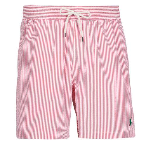 Clothing Men Trunks / Swim shorts Polo Ralph Lauren MAILLOT SHORT DE BAIN RAYE SEERSUCKER CORDON DE SERRAGE ET POCHE Red / White