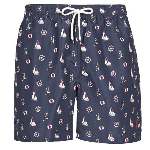 Clothing Men Trunks / Swim shorts Polo Ralph Lauren MAILLOT SHORT DE BAIN IMPRIME MICRO-MOTIFS CORDON DE SERRAGE ET Marine