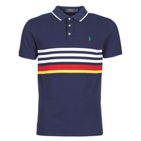 Clothing Men Short-sleeved polo shirts Polo Ralph Lauren POLO AJUSTE DROIT RAYE AVEC DETAILS DE COL ET DETAILS MANCHES EN Marine