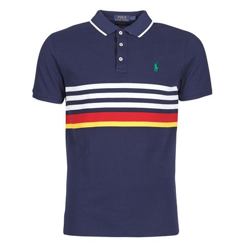 Clothing Men Short-sleeved polo shirts Polo Ralph Lauren POLO AJUSTE DROIT RAYE AVEC DETAILS DE COL ET DETAILS MANCHES EN Marine
