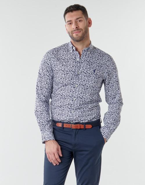 Clothing Men Long-sleeved shirts Polo Ralph Lauren CHEMISE CINTREE SLIM FIT EN POPLINE DE COTON COL BOUTONNE LOGO P Blue