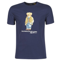 Clothing Men Short-sleeved t-shirts Polo Ralph Lauren T-SHIRT COL ROND POLO BEAR EN COTON Marine