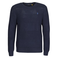 Clothing Men Jumpers Polo Ralph Lauren PULL COL ROND EN COTON TEXTURE LOGO PONY PLAYER Blue