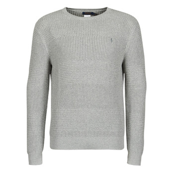 Clothing Men Jumpers Polo Ralph Lauren PULL COL ROND EN COTON TEXTURE LOGO PONY PLAYER Grey
