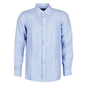 Clothing Men Long-sleeved shirts Polo Ralph Lauren CHEMISE AJUSTEE EN LIN COL BOUTONNE  LOGO PONY PLAYER Blue / White