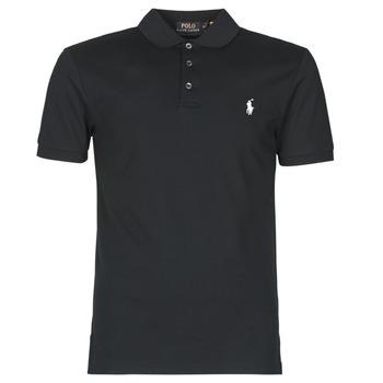 Clothing Men Short-sleeved polo shirts Polo Ralph Lauren POLO CINTRE SLIM FIT EN COTON STRETCH MESH LOGO PONY PLAYER Black