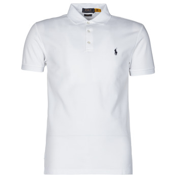 Clothing Men Short-sleeved polo shirts Polo Ralph Lauren POLO CINTRE SLIM FIT EN COTON STRETCH MESH LOGO PONY PLAYER White
