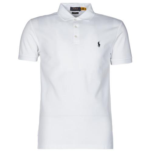 Clothing Men Short-sleeved polo shirts Polo Ralph Lauren POLO CINTRE SLIM FIT EN COTON STRETCH MESH LOGO PONY PLAYER White