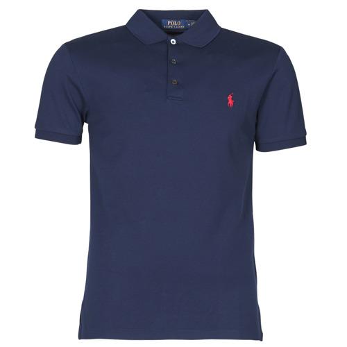 Clothing Men Short-sleeved polo shirts Polo Ralph Lauren POLO CINTRE SLIM FIT EN COTON STRETCH MESH LOGO PONY PLAYER Marine