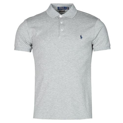 Clothing Men Short-sleeved polo shirts Polo Ralph Lauren POLO CINTRE SLIM FIT EN COTON STRETCH MESH LOGO PONY PLAYER Grey