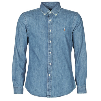 Clothing Men Long-sleeved shirts Polo Ralph Lauren CHEMISE CINTREE SLIM FIT EN JEAN DENIM BOUTONNE LOGO PONY PLAYER Blue
