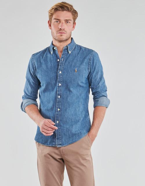 Clothing Men Long-sleeved shirts Polo Ralph Lauren CHEMISE CINTREE SLIM FIT EN JEAN DENIM BOUTONNE LOGO PONY PLAYER Blue