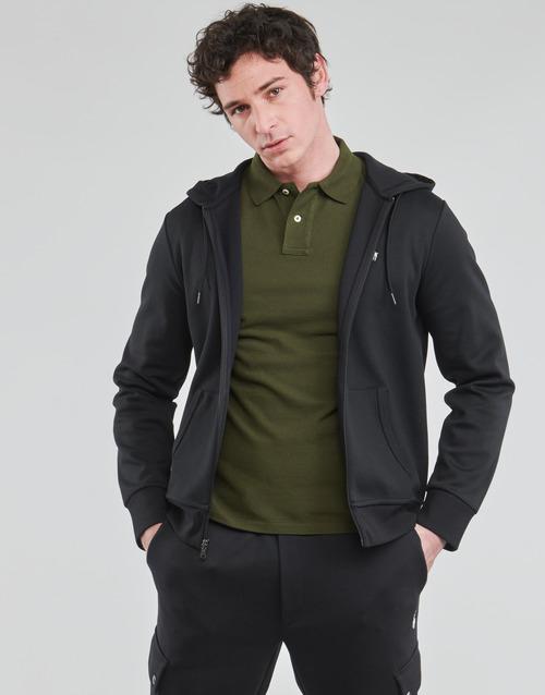 Clothing Men Sweaters Polo Ralph Lauren SWEATSHIRT A CAPUCHE ZIPPE EN JOGGING DOUBLE KNIT TECH LOGO PONY Black