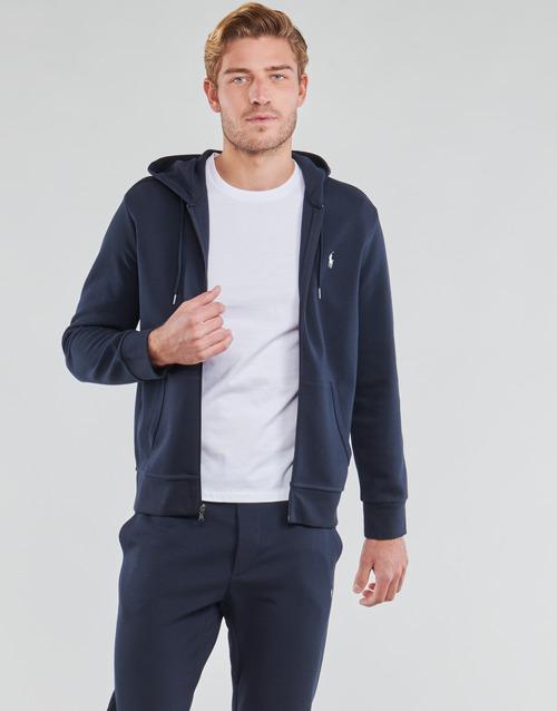 Clothing Men Sweaters Polo Ralph Lauren SWEATSHIRT A CAPUCHE ZIPPE EN JOGGING DOUBLE KNIT TECH LOGO PONY Marine