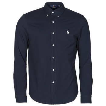 Clothing Men Long-sleeved shirts Polo Ralph Lauren CHEMISE AJUSTEE COL BOUTONNE EN POLO FEATHERWEIGHT LOGO PONY PLA Marine