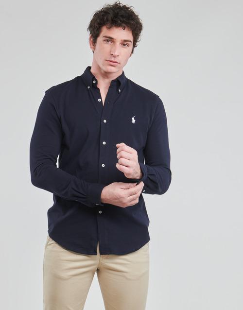 Clothing Men Long-sleeved shirts Polo Ralph Lauren CHEMISE AJUSTEE COL BOUTONNE EN POLO FEATHERWEIGHT LOGO PONY PLA Marine