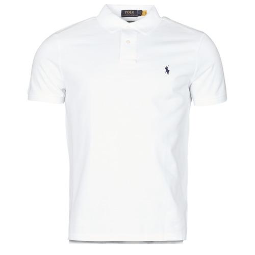 Clothing Men Short-sleeved polo shirts Polo Ralph Lauren POLO AJUSTE DROIT EN COTON BASIC MESH LOGO PONY PLAYER White