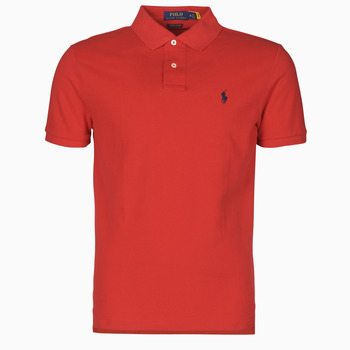Clothing Men Short-sleeved polo shirts Polo Ralph Lauren POLO AJUSTE DROIT EN COTON BASIC MESH LOGO PONY PLAYER Red