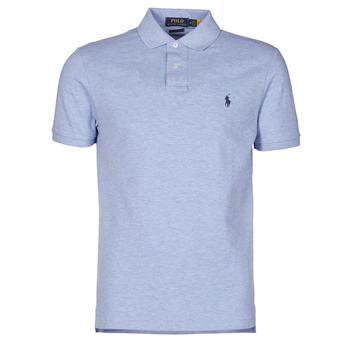 Clothing Men Short-sleeved polo shirts Polo Ralph Lauren POLO AJUSTE DROIT EN COTON BASIC MESH LOGO PONY PLAYER Blue