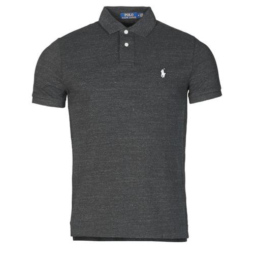 Clothing Men Short-sleeved polo shirts Polo Ralph Lauren POLO AJUSTE DROIT EN COTON BASIC MESH LOGO PONY PLAYER Black