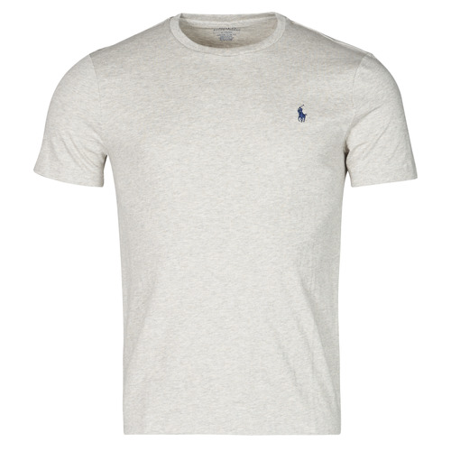 Clothing Men Short-sleeved t-shirts Polo Ralph Lauren T-SHIRT AJUSTE COL ROND EN COTON LOGO PONY PLAYER Grey
