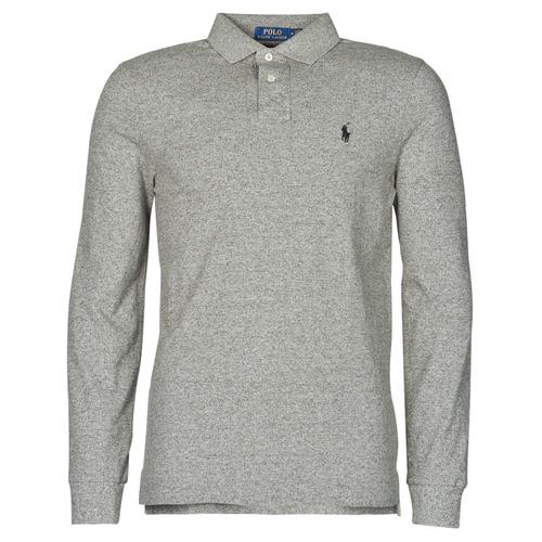 Clothing Men Long-sleeved polo shirts Polo Ralph Lauren POLO AJUSTE DROIT EN COTON BASIC MESH LOGO PONY PLAYER Grey