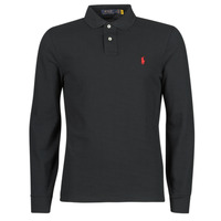 Clothing Men Long-sleeved polo shirts Polo Ralph Lauren POLO AJUSTE DROIT EN COTON BASIC MESH LOGO PONY PLAYER Black