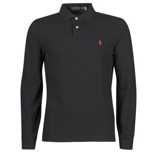 Clothing Men Long-sleeved polo shirts Polo Ralph Lauren POLO AJUSTE DROIT EN COTON BASIC MESH LOGO PONY PLAYER Black