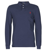 Clothing Men Long-sleeved polo shirts Polo Ralph Lauren POLO AJUSTE DROIT EN COTON BASIC MESH LOGO PONY PLAYER Marine