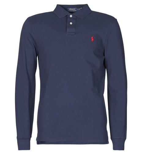 Clothing Men Long-sleeved polo shirts Polo Ralph Lauren POLO AJUSTE DROIT EN COTON BASIC MESH LOGO PONY PLAYER Marine