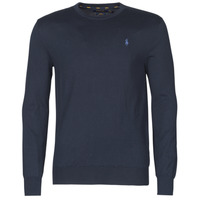 Clothing Men Jumpers Polo Ralph Lauren PULL COL ROND AJUSTE EN COTON PIMA LOGO PONY PLAYER Blue