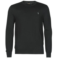Clothing Men Jumpers Polo Ralph Lauren PULL COL ROND AJUSTE EN COTON PIMA LOGO PONY PLAYER Black