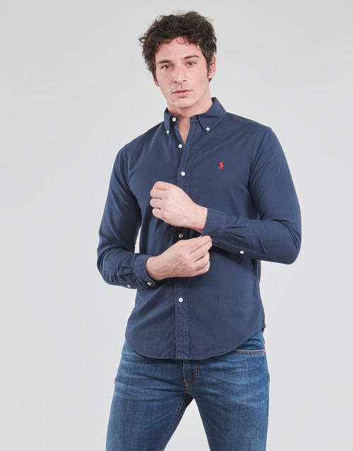Clothing Men Long-sleeved shirts Polo Ralph Lauren CHEMISE CINTREE SLIM FIT EN OXFORD LEGER TYPE CHINO COL BOUTONNE Marine