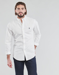 Clothing Men Long-sleeved shirts Polo Ralph Lauren CHEMISE CINTREE SLIM FIT EN OXFORD LEGER TYPE CHINO COL BOUTONNE White