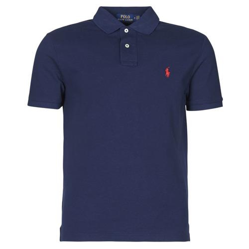 Clothing Men Short-sleeved polo shirts Polo Ralph Lauren POLO AJUSTE DROIT EN COTON BASIC MESH LOGO PONY PLAYER Marine
