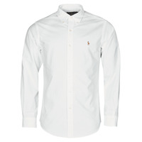 Clothing Men Long-sleeved shirts Polo Ralph Lauren CHEMISE AJUSTEE EN OXFORD COL BOUTONNE  LOGO PONY PLAYER MULTICO White