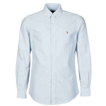 Clothing Men Long-sleeved shirts Polo Ralph Lauren CHEMISE AJUSTEE EN OXFORD COL BOUTONNE  LOGO PONY PLAYER MULTICO Blue / White