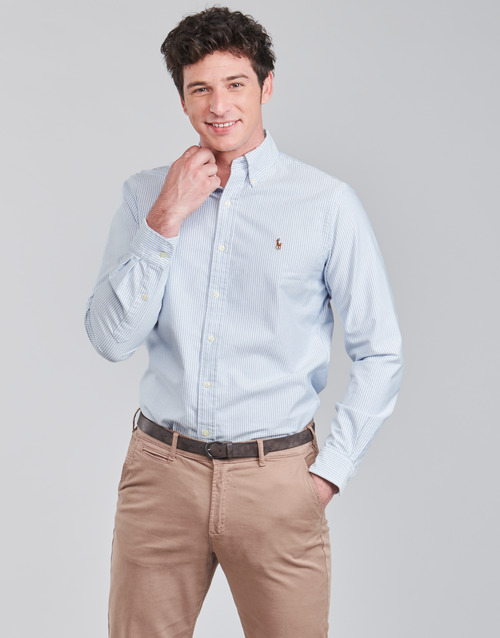 Clothing Men Long-sleeved shirts Polo Ralph Lauren CHEMISE AJUSTEE EN OXFORD COL BOUTONNE  LOGO PONY PLAYER MULTICO Blue / White