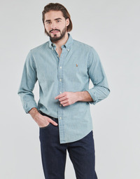 Clothing Men Long-sleeved shirts Polo Ralph Lauren CHEMISE AJUSTEE EN CHAMBRAY DENIM COL BOUTONNE  LOGO PONY PLAYER Blue