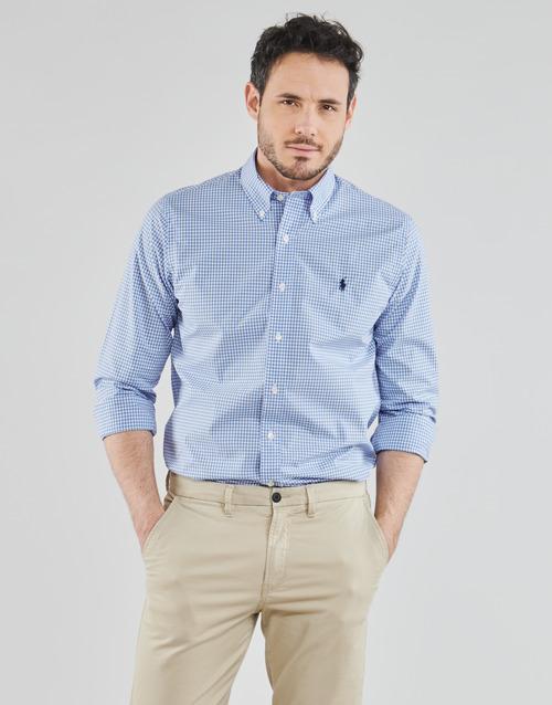 Clothing Men Long-sleeved shirts Polo Ralph Lauren CHEMISE AJUSTEE EN POPLINE DE COTON COL BOUTONNE  LOGO PONY PLAY Blue / White